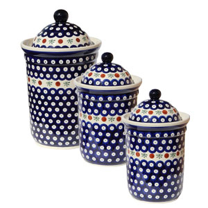 Polish Pottery 3 PC Canister Set, Classic Design 41