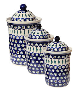 Polish Pottery 3 PC Canister Set, Peacock Design