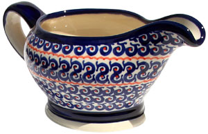 Polish Pottery Gravy Boat 16 Oz., Classic Design 1126a
