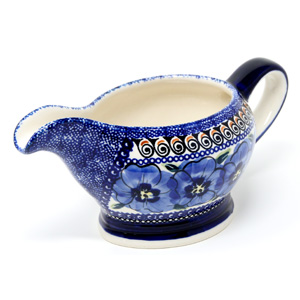 Gravy Boat 16 Oz., Regal Bouquet Polish Pottery pattern painted by artist Barbara Boczar