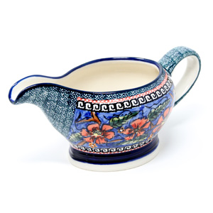Gravy Boat 16 Oz., Poppies Unikat Polish Pottery pattern painted by artist Anna Taraszewska