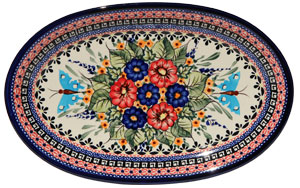 Polish Pottery Medium Oval Platter, Unikat Signature Design 149 Art