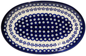 Polish Pottery Medium Oval Platter, Floral Peacock Design