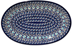 Polish Pottery Medium Oval Platter, , Classic Design 217a