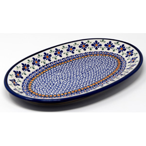 Medium Oval Platter 12 Inch x 8 Inch in Mosaic Flower Polish Pottery Pattern