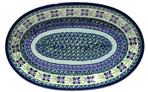 Polish Pottery Medium Oval Platter, Unikat Design DU121