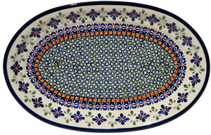 Polish Pottery Medium Oval Platter, Unikat Design DU60