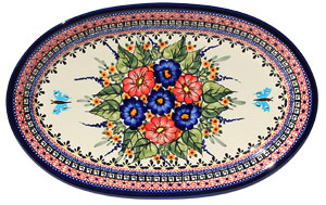 Polish Pottery Large Oval Platter, Unikat Signature 149 Art