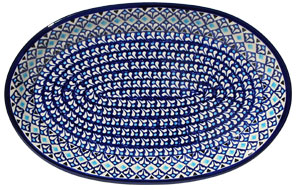 Polish Pottery Large Oval Platter, Classic Design 217a