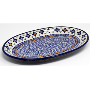 Large Oval Platter 14 Inch x 9 Inch in Mosaic Flower Polish Pottery Pattern