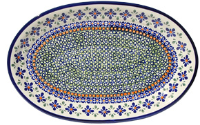 Polish Pottery Large Oval Platter, Unikat Design DU60