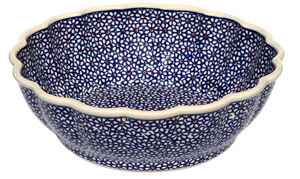 Polish Pottery Scalloped Bowl, Classic Design 120