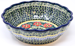 Polish Pottery Scalloped Bowl, Unikat Signature 134 Art Pattern