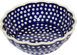 Polish Pottery Scalloped Bowl, Classic Design 42