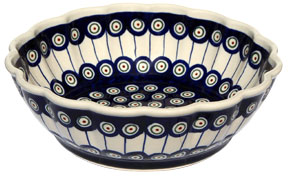 Polish Pottery Scalloped Bowl, Classic Design 8