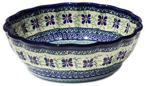 Polish Pottery Scalloped Bowl,  Unikat Design DU121