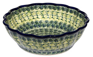 Polish Pottery Scalloped Bowl, Unikat Design DU41