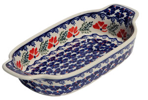 Polish Pottery Rectangular Serving Dish, Classic Pattern 1115