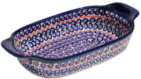 Polish Pottery Rectangular Serving Dish, Classic Pattern 1126a