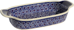 Polish Pottery Rectangular Serving Dish, Classic Pattern 120