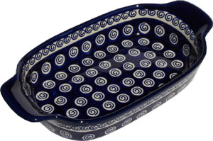Polish Pottery Rectangular Serving Dish, Classic Pattern 174a