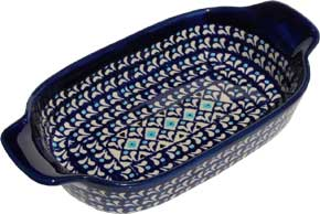 Polish Pottery Rectangular Serving Dish, Classic Pattern 217a