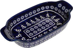 Polish Pottery Rectangular Serving Dish, Classic Pattern 243a