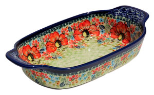 Polish Pottery Rectangular Serving Dish, Unikat Signature Pattern 296 Art