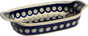 Polish Pottery Rectangular Serving Dish, Classic Pattern 312