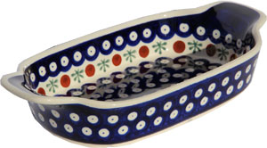 Polish Pottery Rectangular Serving Dish, Classic Pattern 41