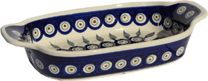 Polish Pottery Rectangular Serving Dish, Classic Pattern Peacock