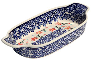 Polish Pottery Rectangular Serving Dish, Classic Pattern 964