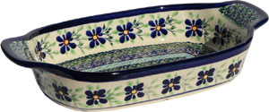 Polish Pottery Rectangular Serving Dish, Unikat Pattern DU121