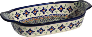 Polish Pottery Rectangular Serving Dish, Unikat Pattern DU60