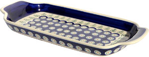 Polish Pottery Bread Tray, Classic Pattern 312