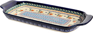 Polish Pottery Bread Tray, Unikat Pattern DU71