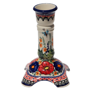 Polish Pottery Candlestick Holder, Unikat Signature 149 Art