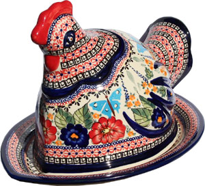 Polish Pottery Chicken Serving Platter, Unikat Signature Pattern 149 Art