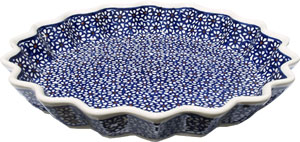 Polish Pottery Quiche / Scalloped Pie Dish, Classic Pattern 120
