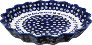 Polish Pottery Quiche / Scalloped Pie Dish
