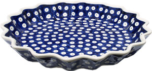 Polish Pottery Quiche / Scalloped Pie Dish, Classic Pattern 42