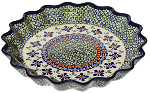 Polish Pottery Quiche / Scalloped Pie Dish, Unikat Design DU60