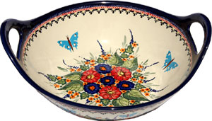 Polish Pottery Medium Serving Bowl with Handles