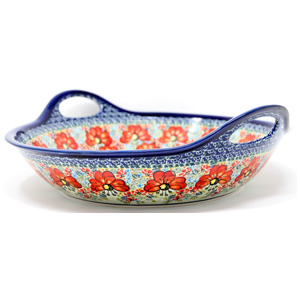 Polish Pottery Large Deep Bowl with Handles
