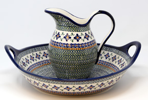 Polish Pottery Serving Bowl and Pitcher Set, Unikat Design DU60