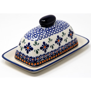 Butter Dish in Mosaic Flower Polish Pottery Design