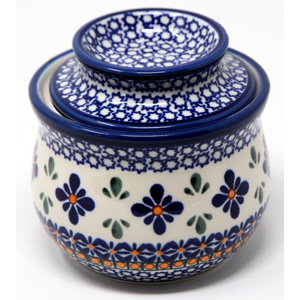 French Butter Crock Polish Pottery Flower Mosaic Design