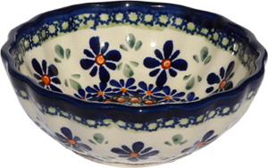 Polish Pottery Fluted Bowl 4.75