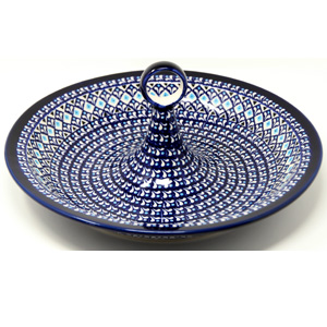 Fruit Bowl from Zaklady Boleslawiec Polish Pottery in Blue Diamond Dream Pattern