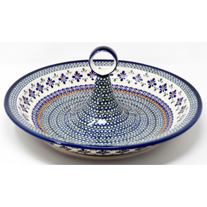 Fruit Bowl from Zaklady Boleslawiec Polish Pottery in Mosaic Flower Pattern